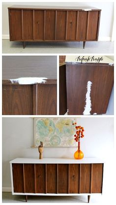 Repair and paint with General Finishes Milk Paint Two Tone Mid Century Modern Furniture - Refresh Restyle