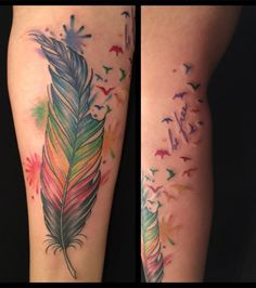 Watercolor Feather Into Birds by A.R.T. Trained Tattoo Artist Oksana Weber. Click for more tattoo inspiration.