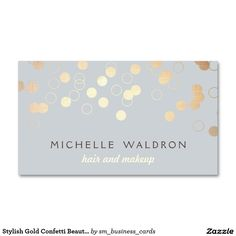 Stylish Gold Confetti Beauty Makeup Artist Grey Pack Of Standard Business Cards