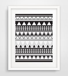 Aztec Triangle Print Black and White by MelindaWoodDesigns on Etsy, $5.00