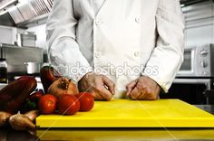 Chef hands cutting vegetables