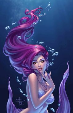 Animal Drawings Sirens 2 Print · Sabine Rich's shop · Online Store Powered by Storenvy - Print of the purple haired siren Printed on Sterling Gloss Cover paper Art by Sabine Rich. Signed by Sabine Rich Mermaid Artwork, Mermaid Drawings, Mermaid Tattoos, Mermaid Paintings, Fantasy Mermaids, Mermaids And Mermen, Real Mermaids, Fantasy Creatures, Mythical Creatures