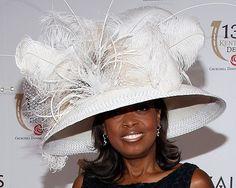 Kentucky Derby Hats - Huge in white - Star Jones Kentucky Derby Fashion, Kentucky Derby Hats, Fancy Hats, Big Hats, Ascot Hats, Women's Hats, Crazy Hats, Derby Day, Wearing A Hat