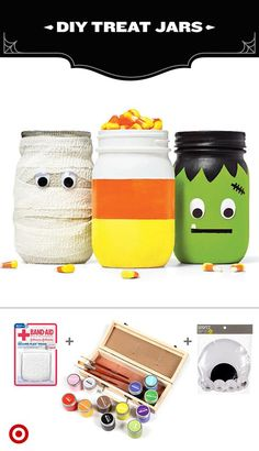 Just a few simple craft supplies turn these canning jars into sweet, silly homemade treat jars. Using craft supplies like acrylic paint, google eyes and gauze, you can create classic Halloween characters that double as candy dishes, perfect for a buffet table, or anyplace that needs a little sweetening up.