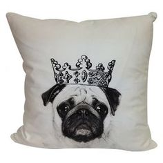 Cotton-blend pillow with a crowned pug motif.  Product: Pillow Construction Material: Cotton and polyester blend Color: Multi Features: Insert included Dimensions: 20 x 20 Cleaning and Care: Dry clean only