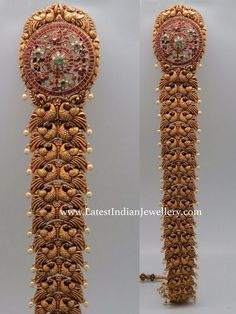 Uniquely crafted 22 carat gold nakshi work peacock jada or choti with south sea pearls drops. Kundan ruby adorned large size floral design motif embellished at the top Hair Jewelry, Wedding Jewelry, Fashion Jewelry, Gold Jewelry, India Jewelry, Wedding Earrings, Wedding Hair, Jewelry Sets, Antique Jewellery Designs