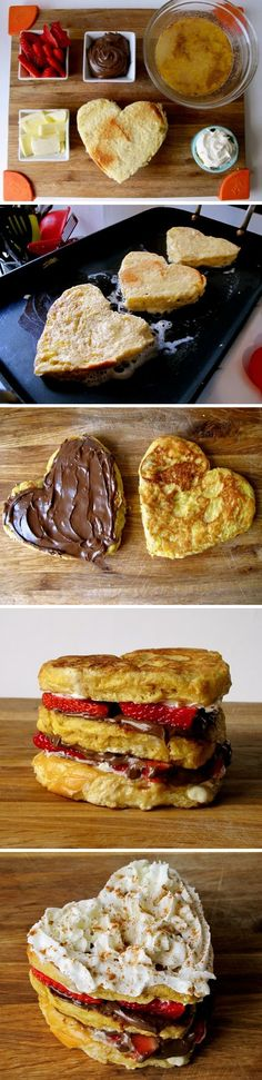 Strawberry Nutella Stacked French Toast Must make these for Andrew! | See more about breakfast in bed nutella and french toast.
