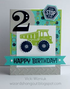 DIGGER/CONSTRUCTION/CAR THEME POSSIBLE INVITATION IDEA- STOP SIGN GAME  2nd Birthday Boy Card... using CTMH Later Sk8r paper and Fast and Furious stamp set.    SCRAPBOOK LAPBOOK ARTS AND CRAFTS