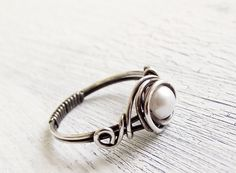 Antiqued Sterling Silver Pearl Ring Wire Wrapped Ring.