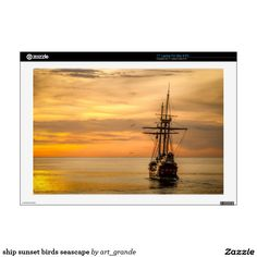 """ship sunset birds seascape decals for 17"""" laptops"""