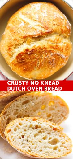 Crusty No Knead Dutch Oven Bread Recipe - easy to make with just a few basic ingredients, no special equipment. Let to rise overnight and baked in a Dutch oven. The perfect homemade bread, a foolproof recipe. bread recipe CRUSTY NO KNEAD DUTCH OVEN BREAD Dutch Oven Pot Roast, Dutch Oven Chicken, Dutch Oven Cooking, Easy Oven Recipes, Easy Meals, Cooking Recipes, Easy Homemade Bread Recipes, Easy Dutch Oven Recipes, Hardboiled