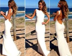 Backless sexy jersey long elegant white prom dress