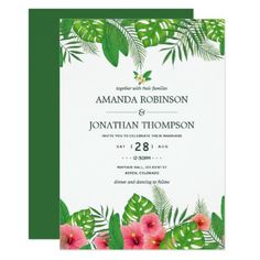 Watercolor Hawaiian Aloha Luau Wedding Invitation - wedding invitations diy cyo special idea personalize card