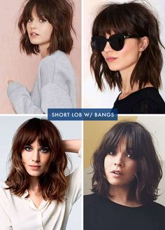 Emily Henderson Hair Cut Short Lob With Bangs # lob Hairstyles with bangs My New Cut and Color. Curly Hair With Bangs, Short Hair With Bangs, Short Curly Hair, Short Hair Cuts, Fringes For Long Hair, Brown Hair With Fringe, Brown Hair Bangs, Medium Haircuts With Bangs, Bangs With Medium Hair