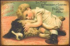 Hoyts German Cologne Little Girl Dog Trade Card