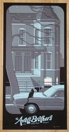 "The Avett Brothers - silkscreen concert poster (click image for more detail) Artist: Charles Crisler Venue: Chicago Theatre Location: Chicago, IL Concert Date: 4/23/2016 Size: 12"" x 24"" Edition: 150;"