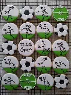 Soccer cookies You are in the right place about Soccer Cake drip Here we offer you the most beautifu Fancy Cookies, Iced Cookies, Cute Cookies, Royal Icing Cookies, Cookies Et Biscuits, Cupcake Cookies, Sugar Cookies, Birthday Cookies, Cupcake Toppers