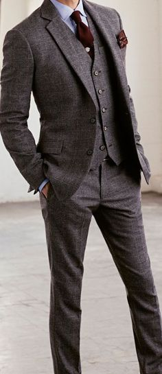 Gray suit with burgundy tie