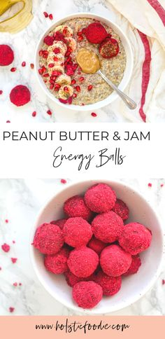 Who doesn't love the classic combo of peanut butter and jam? Try these delicious gluten free, vegan and paleo pb & j energy bites that are sure to please! Baking Recipes, Whole Food Recipes, Vegan Recipes, Snack Recipes, Dessert Recipes, Desserts, Breakfast Bowls, Breakfast Recipes, Mexican Breakfast