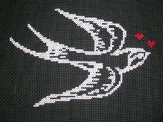 Swallow & Hearts cross stitch by City the NZ Cupcake Queen, via Flickr