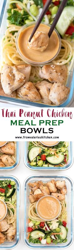 These Thai Peanut Chicken Meal Prep Bowls are a delicious grab-and-go meal. Crunchy slaw, sesame noodles, and chicken with an incredible easy peanut sauce!