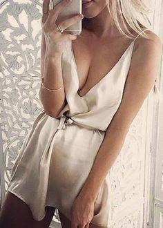 Champagne silk slip dress.