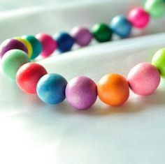 Colorful chunky wooden beaded necklace. $22.50, via Etsy.