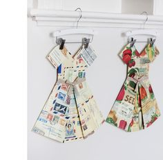 Melbourne maker Marcelle Crosby makes these pretty folded paper dresses from maps and other printed papers… such a sweet and simple idea, and the perfect addition to any little girl's bedroom