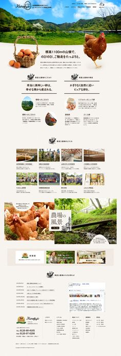 "Landing page (LP) simp of ""Kurofuji Farm"", an organic egg that incorporates natural circulation farming, from Agricultural Production Corporation Kurofuji Farm … – Photography World Food Web Design, Best Web Design, Menu Design, Site Design, Layout Design, Website Layout, Web Layout, Japan Design, Ui Web"