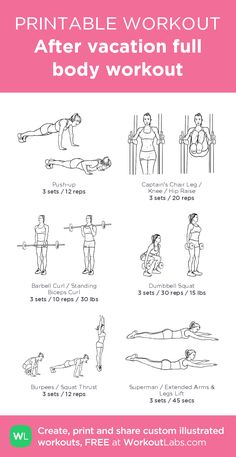After vacation full body workout: my visual workout created at WorkoutLabs.com •…