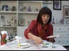 Декор стеклянной тарелки в технике обратный декупаж, золочение поталью - YouTube