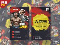 Hello everyone. This is a Free Vertical Gym Trainer Business Card PSD Template. This Vertical Gym Trainer Business Card PSD is perfect for businesses like Muscle & Fitness, Gym, Sport, Trainer or Bodybuilding Clubs. Vertical Gym, Gym Trainer, Free Business Cards, Muscle Fitness, Psd Templates, Hello Everyone, Trainers, Sport