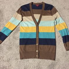 Stripes cardigan sweater Brown, navy, turquoise, yellow, and tan striped cardigan sweater. Super cute! Merona Sweaters Cardigans