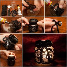 How to Make Lace Decorated Candle Holder step by step DIY tutorial instructions, How to, how to do, diy instructions, crafts, do it yourself, diy website, art project ideas