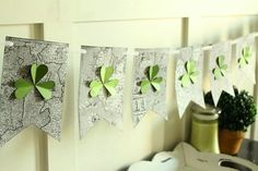 st patricks day decoration with kid friendly banner with map or Ireland and shamrocks