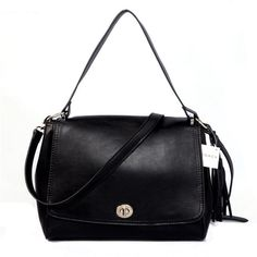 Coach Turnlock Medium Black Shoulder Bags AYQ Brings You Happier Life And Makes You Relexed In The Work Time!