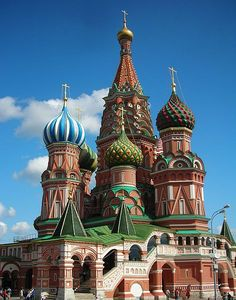 This colorful religious edifice is popularly known as Saint Basil's Cathedral. This Russian Orthodox cathedral is officially called Cathedral of Intercession of Theotokos on the Moat. It is located on the Red Square, Moscow, the capital of Russia. The church is remarkable for its multiple and uniquely designed and colored onion domes.