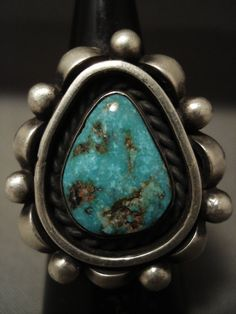 The Most Famous Santo Domingo Artist- Julian Lovato Turquoise Silver Ring