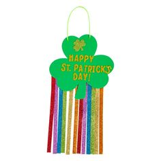 "You don't need luck to finish this easy craft kit! Kids will enjoy this fun St. Patrick's Day craft kit that creates a glittery, colorful sign wishing everyone a Happy St. Patrick's Day! Great as a classroom craft or as a kids' activity at a St. Patrick's Day party, this craft is simple to complete and a cinch to clean up afterward! Includes self-adhesive foam pieces, nonwoven polyester strips and satin cording. 7 1/2"" x 14 1/2"" Makes 12. All craft pieces are pre-packaged for individual use… Daycare Crafts, Classroom Crafts, Toddler Crafts, Preschool Crafts, Easy Crafts, Arts And Crafts, Paper Crafts, Kid Crafts, Craft Activities"