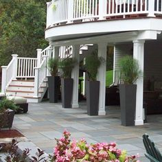 Curved decking and diagnol staircase