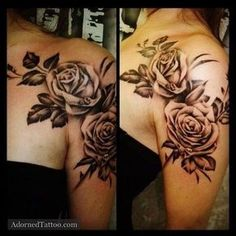 Shoulder flower tattoos for women: Rose tattoo by Jessica Marie Page