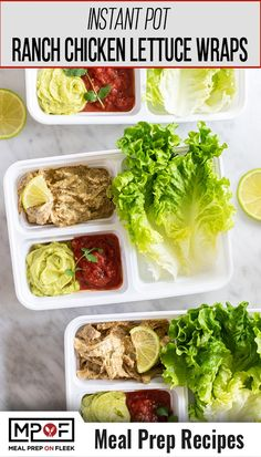 Creamy and cheesy chicken taco lettuce wraps, made quick in the Instant Pot. Top with extra cheese, guacamole, salsa, or your favorite Tex-Mex flavors to complete this meal!