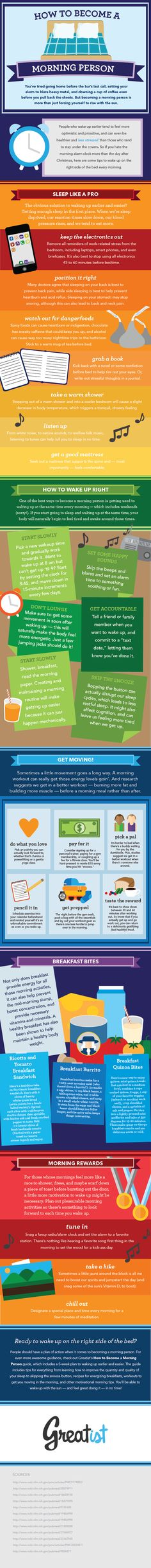 How to Be a Morning Person [INFOGRAPHIC] #motivation #study #students