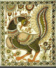 Annapakshi depicted on fabric in Kalamkari style Ganesha Art, Madhubani Art, Madhubani Painting, Worli Painting, Painting Styles, Painting Tutorials, Painting Techniques, Indian Wall Art, Everything