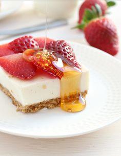 clean eating strawberry cheesecake bars