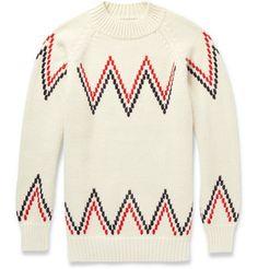 Maison Kitsuné Zig-Zag Alpaca Sweater | MR PORTER