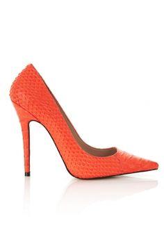 Paris Neon Orange Faux Snake Skin Point Toe Heels.