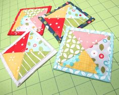 """Quilty Coasters Tutorial by Lori Holt of Bee in My Bonnet ~ a great project for charm packs to keep for yourself or give as gifts! The Fabric Shack has a large selection of charm packs and other pre-cuts at http://www.fabricshack.com/cgi-bin/Store/store.cgi (We also have yardage of """"Wallflowers"""" by Allison Harris for Windham, the fabric used in this tutorial!)"""