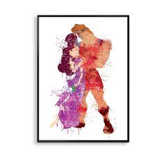 Hercules and Megara Wedding, Meg Disney Princess Watercolor Wedding Art, Wedding Gift idea, Anniversary gift, gift for husband, ET300 by artRuss on Etsy