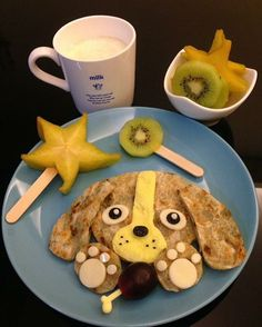Doggie pancake by Sagnny ( Toddler Meals, Kids Meals, Cute Food, Good Food, Food Art For Kids, Creative Snacks, Healthy School Lunches, Food Now, How To Eat Better